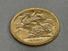 22CT GOLD 1905 FULL SOVEREIGN COIN