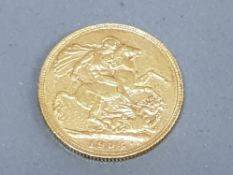 22CT GOLD 1904 EDWARD VII FULL GOLD SOVEREIGN COIN