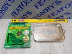 MIXED ITEMS INCLUDING FLAT 50 FOOT HOSE, MULTIPURPOSE SPIRIT LEVEL AND WHITE METAL SERVING TRAY