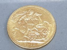 22CT GOLD 1912 GEORGE V FULL SOVEREIGN COIN