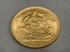 22CT GOLD 1963 FULL SOVEREIGN COIN