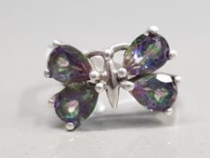 SILVER RING WITH MYSTIC TOPAZ STONES IN THE FORM OF A BUTTERFLY SIZE N 4.3G GROSS