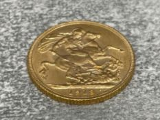22CT GOLD 1913 FULL SOVEREIGN COIN