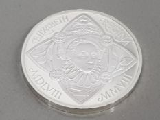 UK ROYAL MINT 2008 5 POUND QUEEN ELIZABETH 1ST SILVER PROOF COIN IN CASE OF ISSUE WITH CERTIFICATES