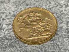22CT GOLD 1895 FULL SOVEREIGN COIN STRUCK IN MELBOURNE