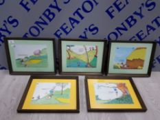 5 FRAMED PRINTS OF GOLFING HUMOUROUS SCENES SIGNED BY TREN