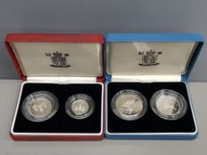 ROYAL MINT 1990 5P SILVER PROOF 2 COIN SET AND 1992 10P SILVER PROOF 2 COIN SET BOTH SETS IN CASES
