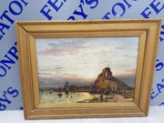 D L MCLEA ANTIQUE OIL PAINTING LINDISFARNE ABBEY AND HOLY ISLAND CASTLE AT SUNSET SIGNED AND DATED
