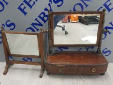 2 ANTIQUE DRESSING MIRRORS ONE IN MAHOGANY WITH 2 DRAWERS