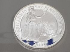 UK 2016 BRITANNIA 5 OUNCE SILVER PROOF IN CASE OF ISSUE WITH CERTIFICATE
