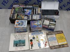 LARGE COLLECTION OF CASSETTE TAPES, DVDS AND 3 VINTAGE RECORDS