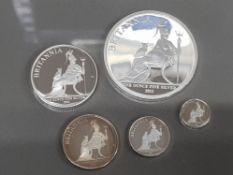 UK 2013 BRITANNIA SILVER PROOF YEAR SET COMPLETE WITH 5 COINS IN CASE AND BOX OF ISSUE WITH