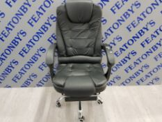 RECLINING SWIVEL GAMING CHAIR BLACK WITH FOLD OUT LEG REST