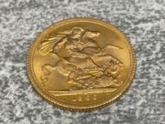 22CT GOLD 1966 FULL SOVEREIGN COIN