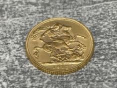 22CT GOLD 1912 FULL SOVEREIGN COIN