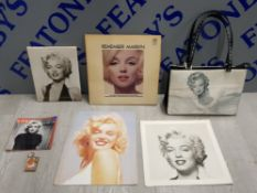 A COLLECTION OF MARILYN MONROE EPHEMERA TO INCLUDE A RARE L.P, A DESIGNER HANDBAG AND PICTURES ETC