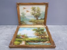 2 oils on board includes pheasants in flight over a moorland stream signed edgar 24cm by 29cm