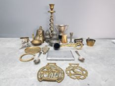 A Quantity of brass pewter and other metal includes candlestick cigarette holder salt and pepper