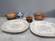 A box of miscellaneous includes 2 large blue and white meat dishes 2 glass animal ornaments includes