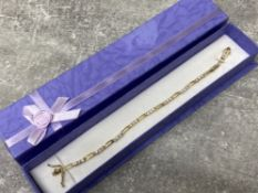 Gold plated and cz set line bracelet, boxed