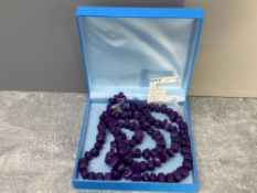 3 row purple quartz necklet with silver catch - as new with part of the original receipt from QVC,