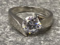 Silver and CZ solitaire ring, size q1/2, 4.7g gross