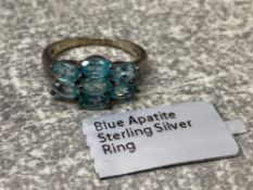 Silver and 7 stone oval blue apatite ring as new with ticket, 1.9g size J
