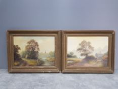 A pair of oils on board both signed by Bill Haunes 39cm by 29cm