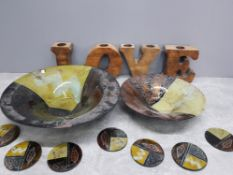 Modern wooden love tealights together with 2 large bowls and 8 coasters