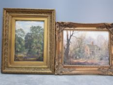 2 gilt framed oil paintings one on canvas one on board one indistinctly signed