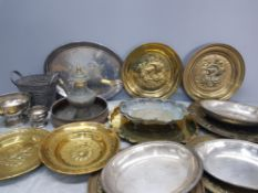 Box of miscellaneous brass and white metal items to include brass plates with ships etc
