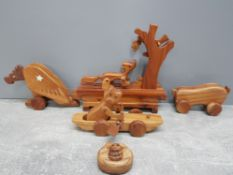 4 carved hardwood mechanical moving animal toys includes foxb3ith grapes and eagle
