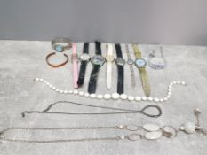 A small tray of costume jewellery includes watches copper bangle etc