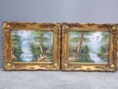 A pair of signed oils on boards of waterfalls in forest with mountainous background both signed