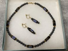 HAEMATITE bead and enamel beaded necklet and drop earrings, boxed
