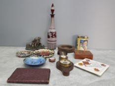 A box of miscellaneous to include studio pottery ashtray barometer with brass dial wooden box with
