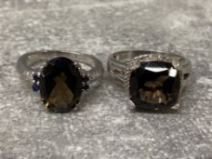 2 silver plated rings set with Smokey quartz, size r and s, gross 9g