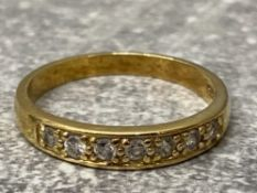 Gold on silver cz set 1/2 eternity ring, 2.2g size p