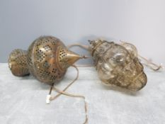 2 hanging wall light shades one of Persian style in pierced brass the other brass case blown