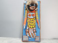Pueblo kachina style wall hanging hand made and painted in the Navajo or hopi way signed as pictured