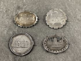4 silver Victorian tourist ware place brooches. Souvenir ware Lincoln cathedral, Oakland Windermere,