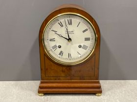 Stunning yew mantle clock Comitti London. Nice enamelled dial. No chips or marks