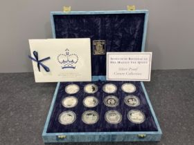 Royal mint collection 1996 The Queens 70th birthday silver proof of 12 crown size coins in case with