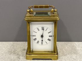 French Brass carriage clock circa 1900 movement stamped RA