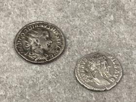 2 Roman silver Denarius coins. Emperor septimius severus 193-211 AD period and Emperor Gordian III