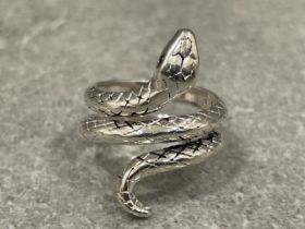 925 silver snake dress ring 5.77g size M