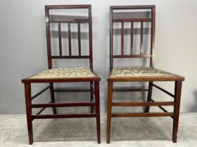 Pair of Victorian hall chairs with upholstered seats