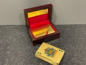 24kt gold foil playing cards in box with certificate