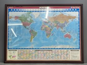 Large framed ordnance survey map of the world 138cm x 105cms