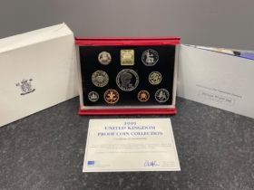 Royal mint 1999 deluxe proof yearly set nine coins with certificate
